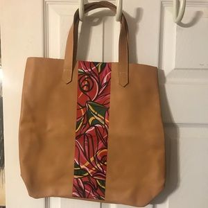 Camel-Colored Leather Tote Bag
